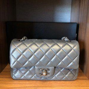 Chanel Crackled Grey Mini Single Flap
